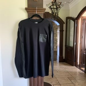 Black Sweater with Faux Leather Size Large